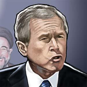 Illustration of George W Bush threatening Saddam Hussein