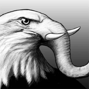 Eagle with an elephant's trunk