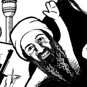 Editorial illustration with Osama Bin Laden