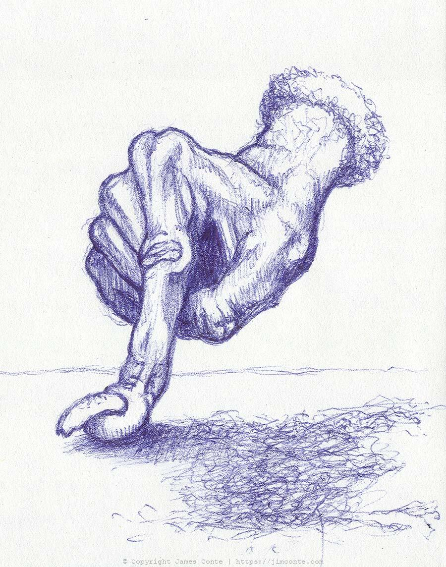 Drawing of an old hand