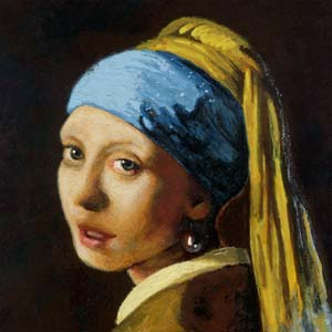 Painting of a woman after Vermeer